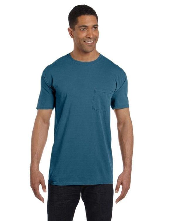 bulk custom shirts comfort colors 6030cc heavyweight rs custom pocket t shirt topaz blue