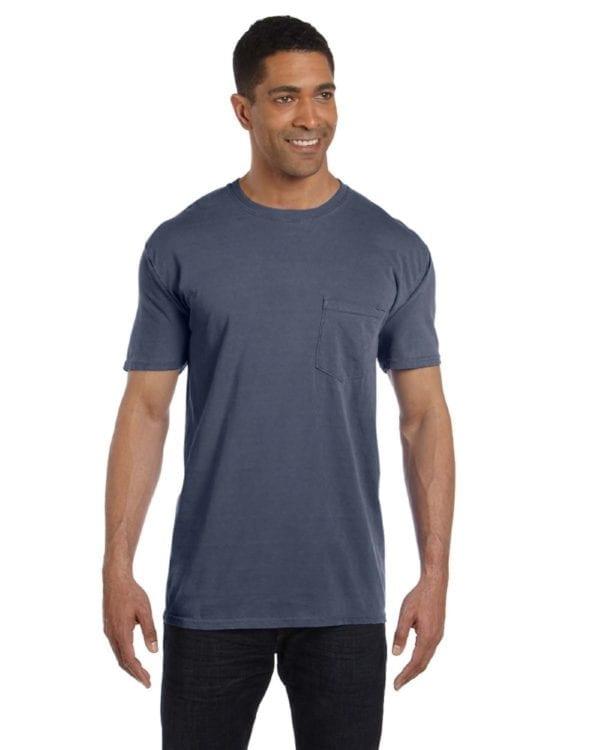 bulk custom shirts comfort colors 6030cc heavyweight rs custom pocket t shirt washed denim