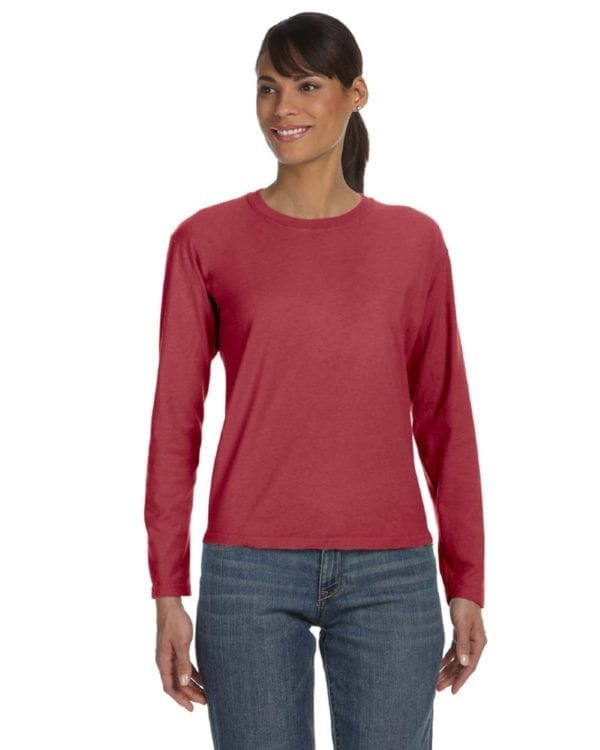 bulk custom shirts comfort colors c3014 custom ladies long sleeve shirt crimson
