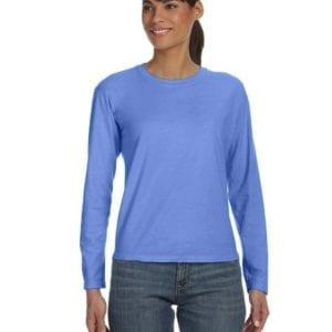 bulk custom shirts comfort colors c3014 custom ladies long sleeve shirt flo blue