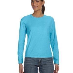 bulk custom shirts comfort colors c3014 custom ladies long sleeve shirt lagoon blue
