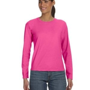 bulk custom shirts comfort colors c3014 custom ladies long sleeve shirt neon pink