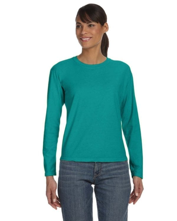bulk custom shirts comfort colors c3014 custom ladies long sleeve shirt seafoam