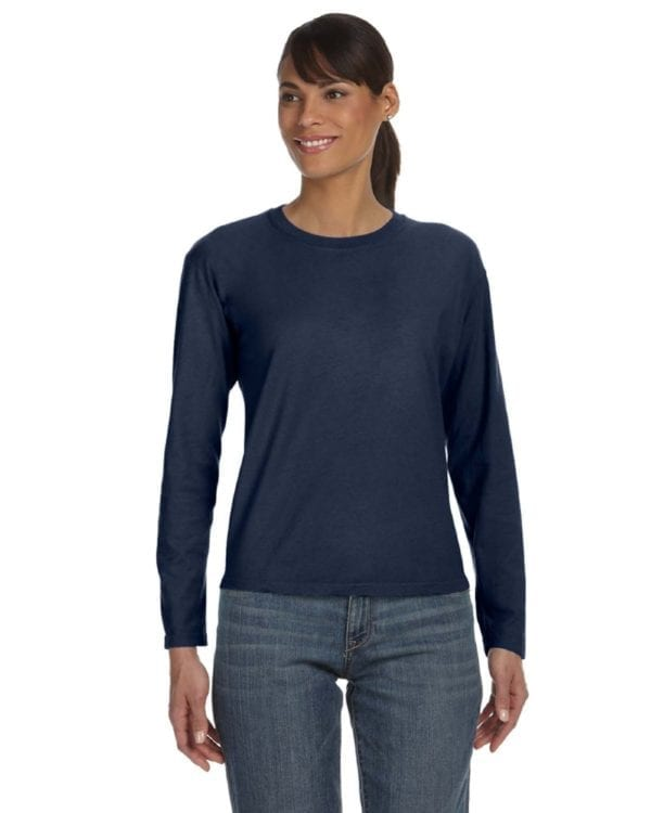 bulk custom shirts comfort colors c3014 custom ladies long sleeve shirt true navy
