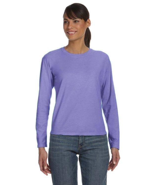 bulk custom shirts comfort colors c3014 custom ladies long sleeve shirt violet