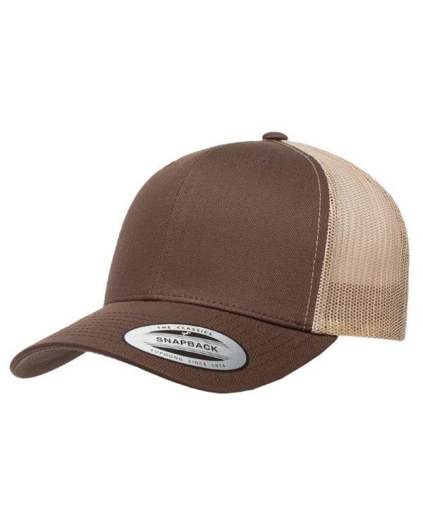 bulk custom shirts - custom hats yupoong 6606 custom retro trucker snapback cap brown khaki