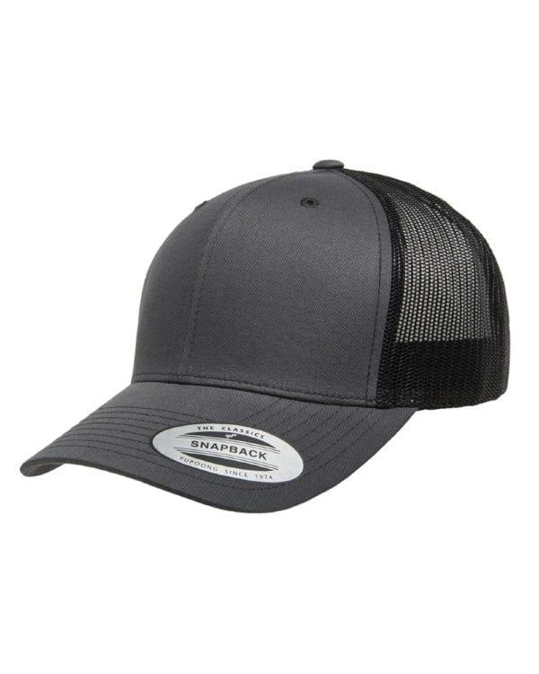 bulk custom shirts - custom hats yupoong 6606 custom retro trucker snapback cap charcoal black