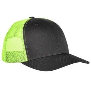 bulk custom shirts - custom hats yupoong 6606 custom retro trucker snapback cap charcoal neon green