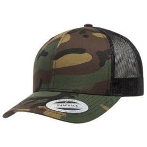bulk custom shirts - custom hats yupoong 6606 custom retro trucker snapback cap green camo blck