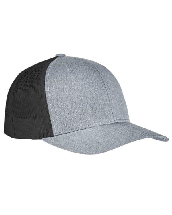 bulk custom shirts - custom hats yupoong 6606 custom retro trucker snapback cap heather black