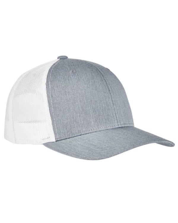 bulk custom shirts - custom hats yupoong 6606 custom retro trucker snapback cap heather white