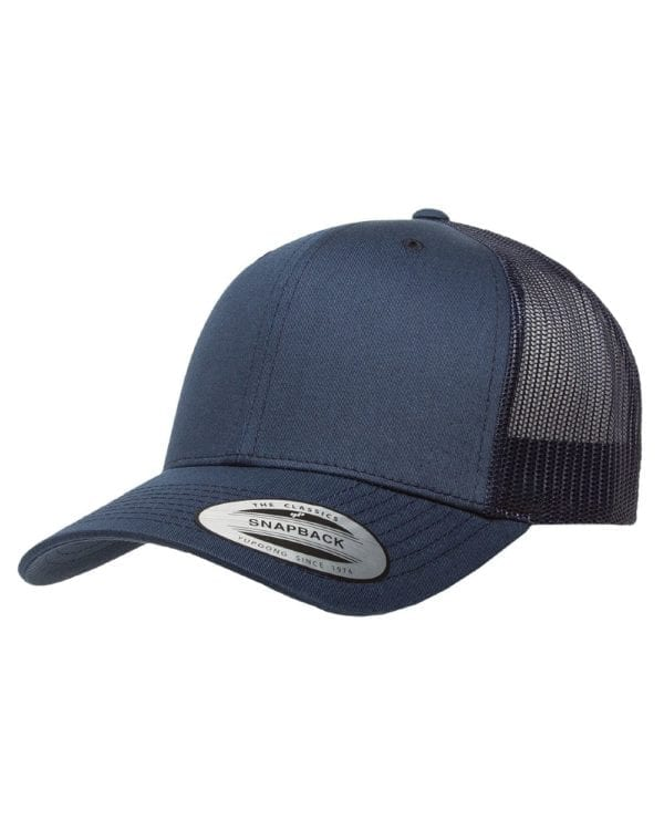 bulk custom shirts - custom hats yupoong 6606 custom retro trucker snapback cap navy