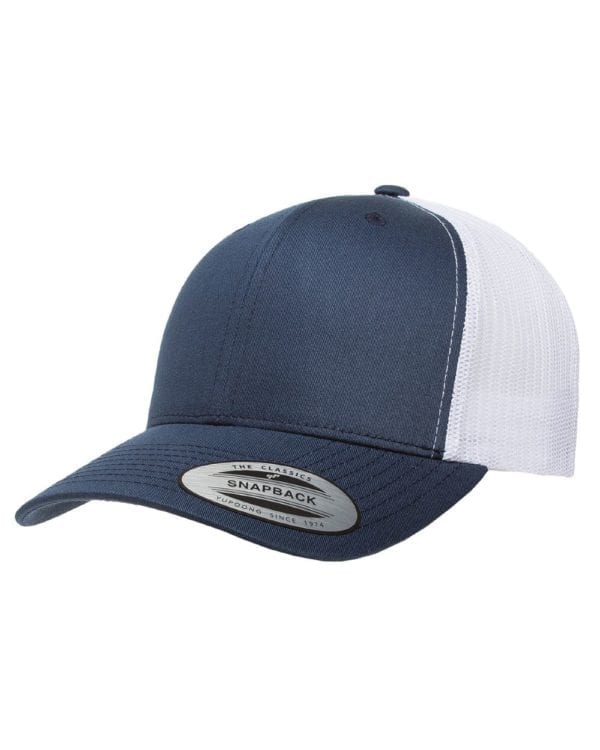 bulk custom shirts - custom hats yupoong 6606 custom retro trucker snapback cap navy white
