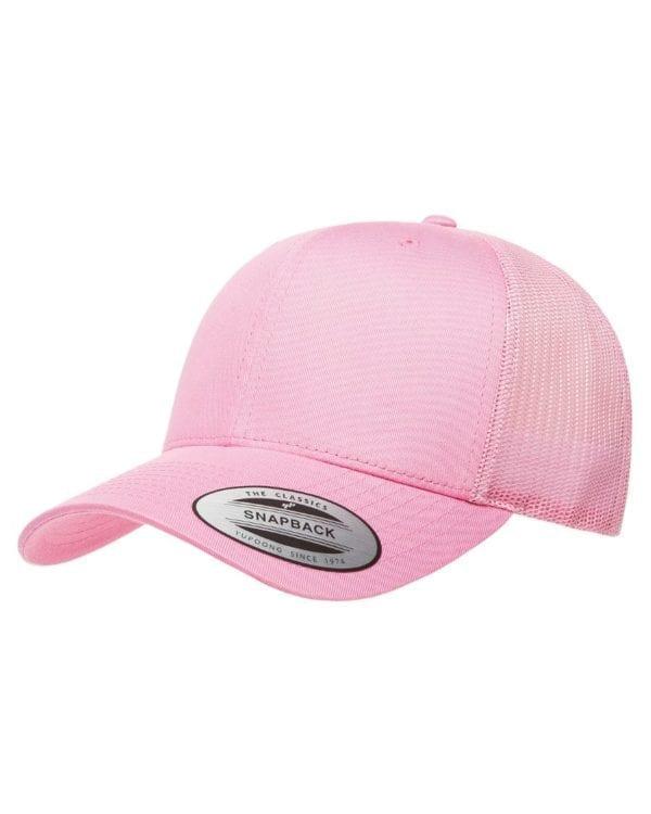 bulk custom shirts - custom hats yupoong 6606 custom retro trucker snapback cap pink