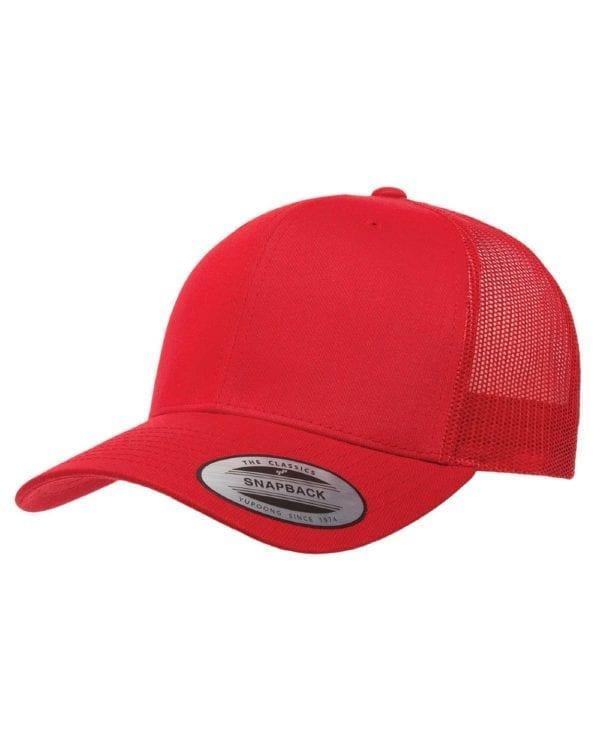 bulk custom shirts - custom hats yupoong 6606 custom retro trucker snapback cap red