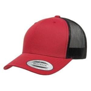 bulk custom shirts - custom hats yupoong 6606 custom retro trucker snapback cap red black