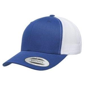 bulk custom shirts - custom hats yupoong 6606 custom retro trucker snapback cap royal white