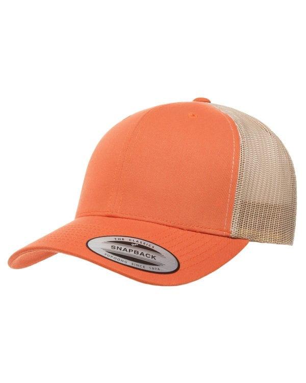 bulk custom shirts - custom hats yupoong 6606 custom retro trucker snapback cap rust orange khaki