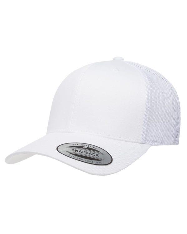 bulk custom shirts - custom hats yupoong 6606 custom retro trucker snapback cap white