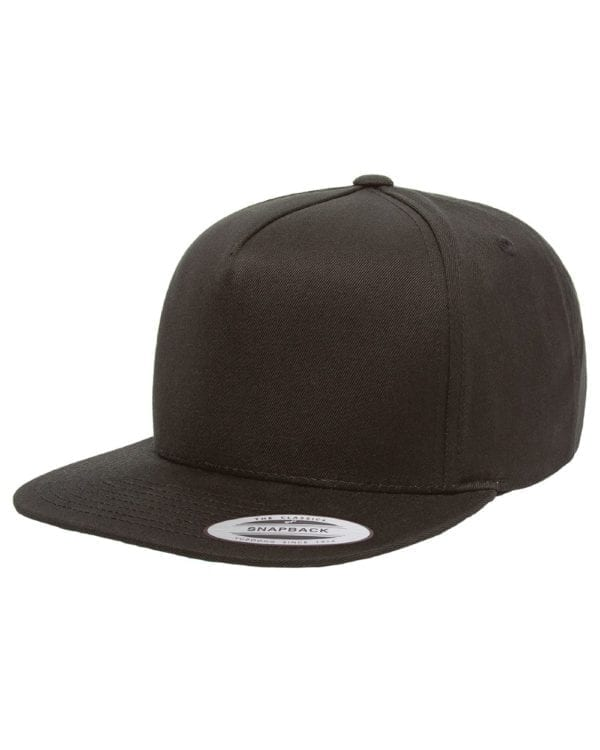 bulk custom shirts - custom hats yupoong y6007 custom 5 panel twill snapback cap black