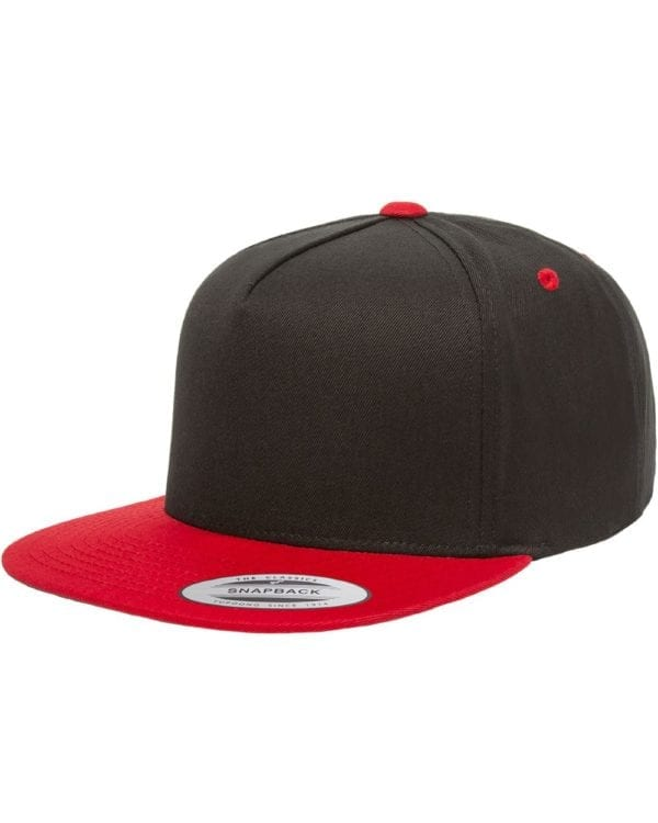 bulk custom shirts - custom hats yupoong y6007 custom 5 panel twill snapback cap black red