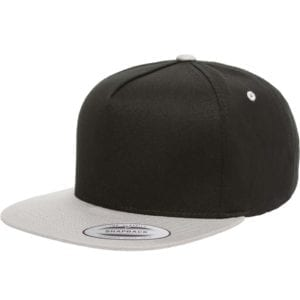 bulk custom shirts - custom hats yupoong y6007 custom 5 panel twill snapback cap black silver