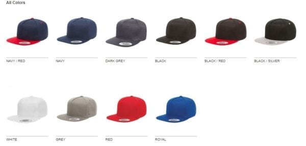 bulk custom shirts - custom hats yupoong y6007 custom 5 panel twill snapback cap colors