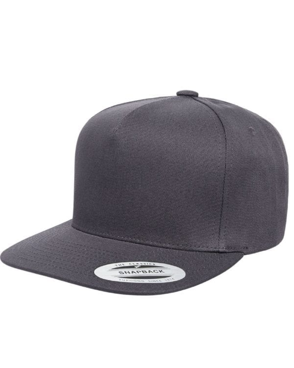 bulk custom shirts - custom hats yupoong y6007 custom 5 panel twill snapback cap dark grey