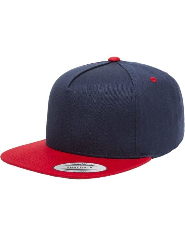 bulk custom shirts - custom hats yupoong y6007 custom 5 panel twill snapback cap navy red