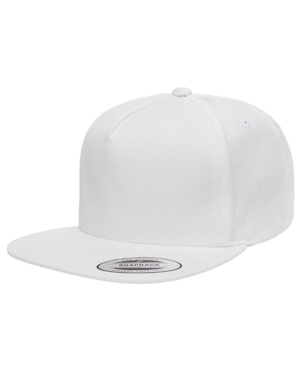 bulk custom shirts - custom hats yupoong y6007 custom 5 panel twill snapback cap white