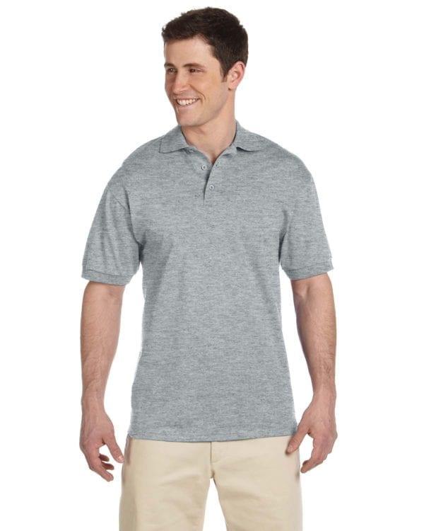 bulk custom shirts custom polo jerzees j100 cotton polo athetic heather