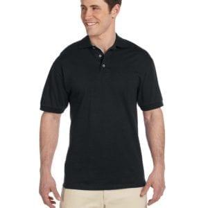 bulk custom shirts custom polo jerzees j100 cotton polo black