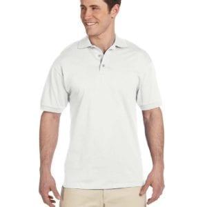 bulk custom shirts custom polo jerzees j100 cotton polo white