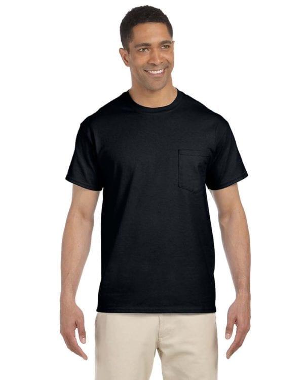 bulk custom shirts gildan g230 ultra cotton custom pocket t-shirt black