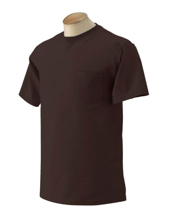 bulk custom shirts gildan g230 ultra cotton custom pocket t-shirt dark chocolate