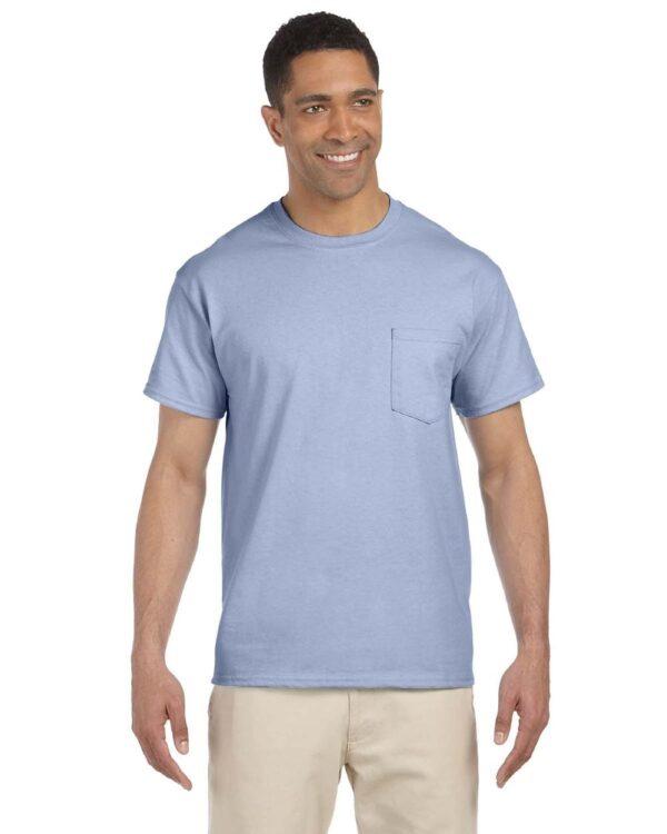 bulk custom shirts gildan g230 ultra cotton custom pocket t-shirt light blue