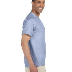 bulk custom shirts gildan g230 ultra cotton custom pocket t-shirt light blue side