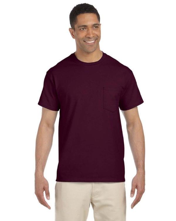 bulk custom shirts gildan g230 ultra cotton custom pocket t-shirt maroon