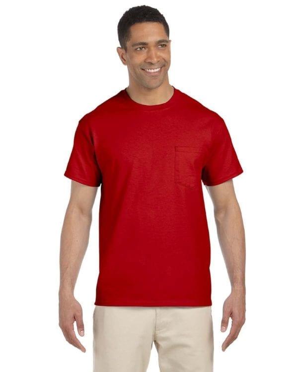 bulk custom shirts gildan g230 ultra cotton custom pocket t-shirt red