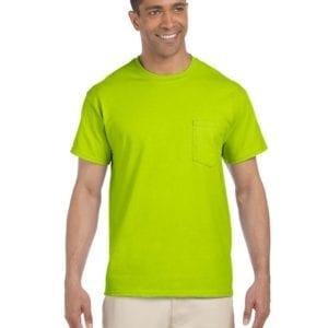 bulk custom shirts gildan g230 ultra cotton custom pocket t-shirt safety green