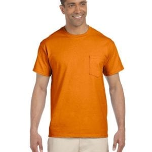 bulk custom shirts gildan g230 ultra cotton custom pocket t-shirt safety orange