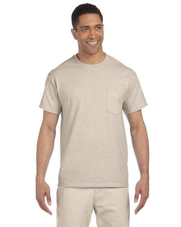 bulk custom shirts gildan g230 ultra cotton custom pocket t-shirt sand