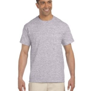bulk custom shirts gildan g230 ultra cotton custom pocket t-shirt sport grey