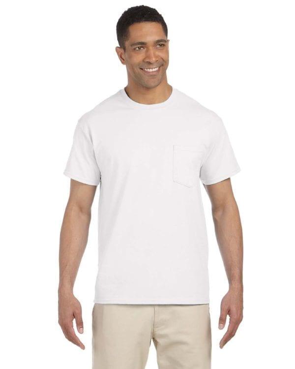 bulk custom shirts gildan g230 ultra cotton custom pocket t-shirt white