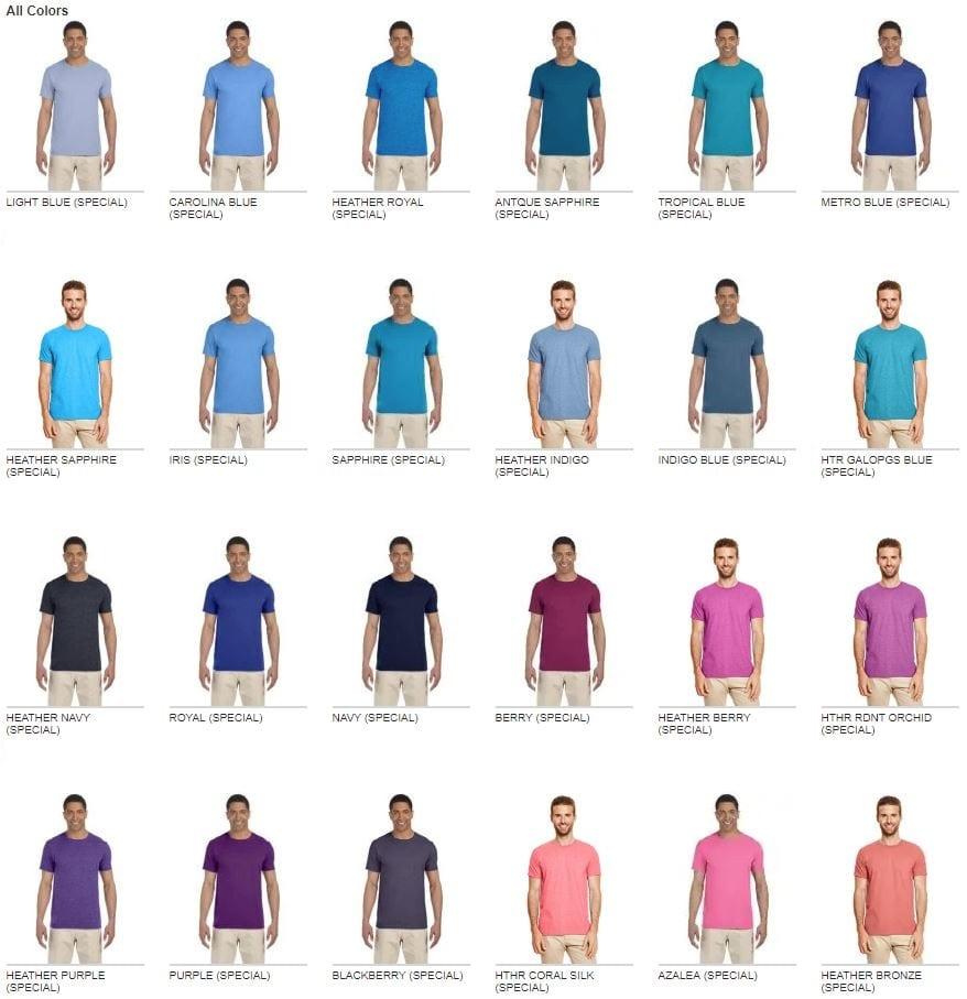 free shipping clear-cut texture pretty and colorful Gildan G640 Softstyle T-Shirt 4.5oz - Bulk Custom Shirts