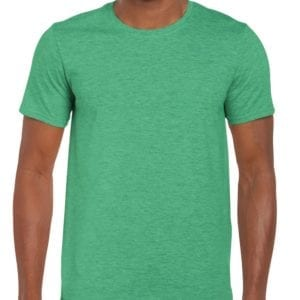 bulk custom shirts gildan g640 custom softstyle 4.5 oz t shirt heather irish green