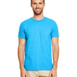 bulk custom shirts gildan g640 custom softstyle 4.5 oz t shirt heather sapphire 1