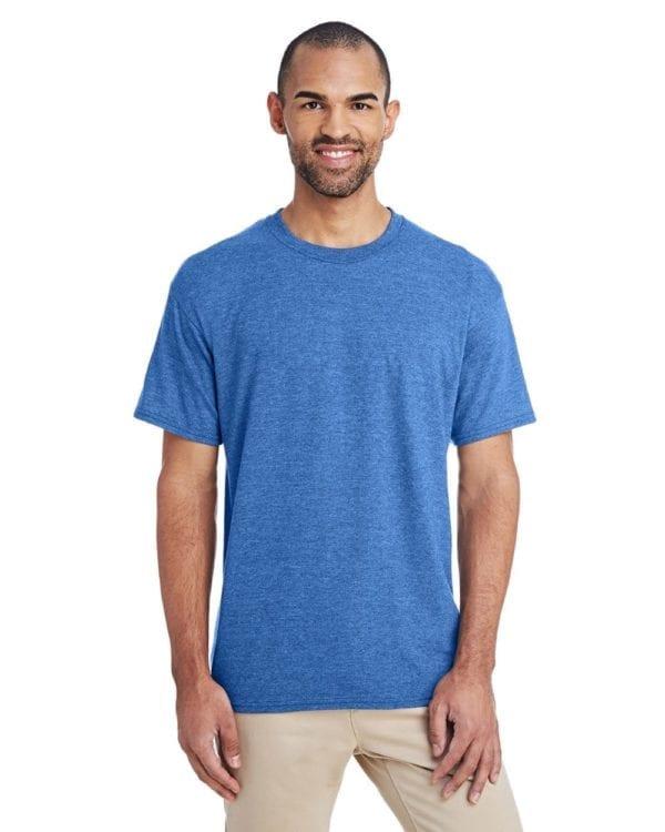 bulk custom shirts gildan g800 50-50 5.5 oz personlized t-shirts heather sport royal