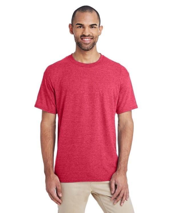 bulk custom shirts gildan g800 50-50 5.5 oz personlized t-shirts heather sport scarlet red
