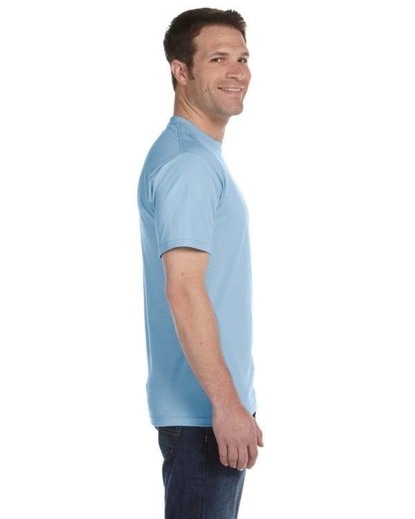 bulk custom shirts gildan g800 50-50 5.5 oz personlized t-shirts light blue side